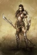 barbarian black_hair braid character fantasy female fighter human shield spear tattoo // 766x1150 // 700.7KB