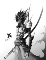 androgynous anime armor black_and_white character mask sci-fi sword // 734x950 // 104.2KB