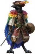 Pathfinder androgynous bird character creature crow fantasy feathers fighter hat kenku nonhuman shield sword // 250x389 // 147.8KB