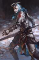 armor blue_eyes blue_hair character fantasy fighter greatsword horns knight male plate sword tiefling // 729x1097 // 117.8KB