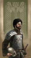 beard black_hair character fantasy fighter green_eyes human male scale sword // 600x1102 // 133.0KB