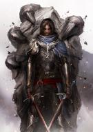 Daniel_Kamarudin_(artist) blood brown_hair character dual_wield fighter human knight male paladin plate sword // 751x1063 // 174.3KB
