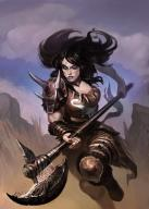axe barbarian black_hair blue_eyes character fantasy female human leather // 525x735 // 50.8KB