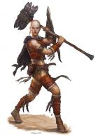bald barbarian character fantasy female hammer human leather shield tattoo // 736x1009 // 71.3KB